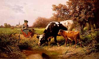 """Adolf Chelius (1856-1923) """"Mittagsrast"""""""
