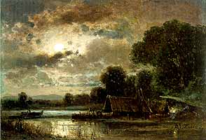 "Adolf Stademann (1824-1895) ""Mondschein am See"""