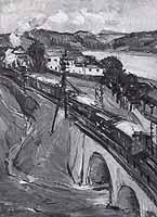 """Gerda Springer (1880-1960) """"Donaulandschaft mit Zug"""""""