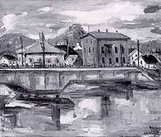 """Hans Waiblinger (*1920) """"Innbruecke Rosenheim"""""""