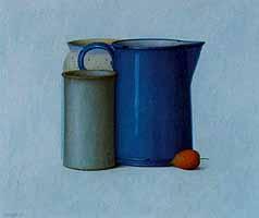 """Heidi Muggli """"Stilleben mit blauer Kanne"""", Oil, 1998"""