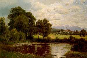 """Josef Schoyerer (1844-1923) """"Im Moor bei Beyharting, im Hintergrund der Wendelstein"""""""
