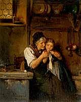 """Ludwig Vollmar (1842-1884) """"Der Strickunterricht"""""""