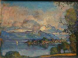 """Theodor Hummel (1864-1939) """"Chiemsee-Panorama mit Ausblick auf die Fraueninsel"""""""