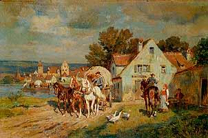 """Wilhelm Velten (1847-1929) """"Vor der Dorfschenke am Flussufer"""""""
