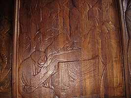wooden relief of the life of Christ
